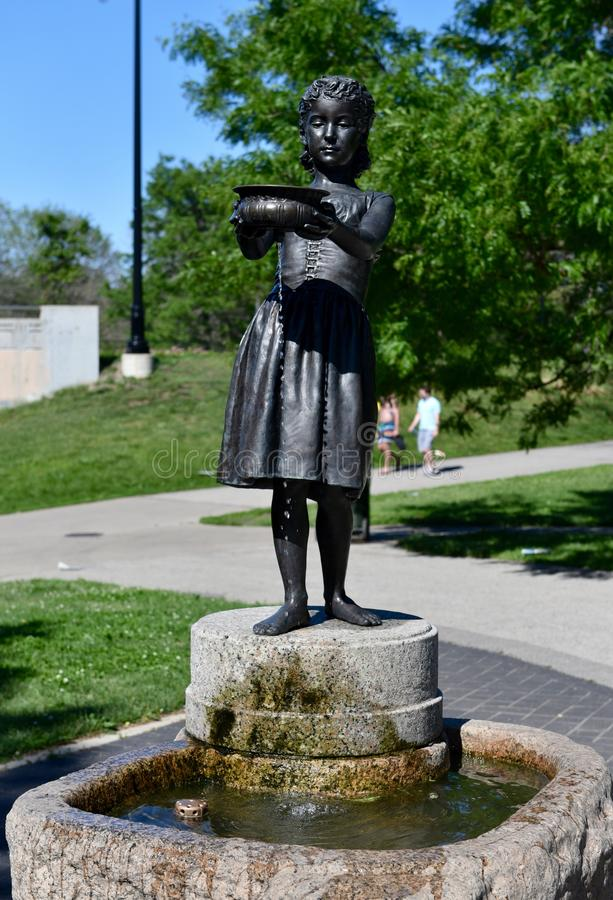 Fountain Girl. This is a Summer picture of the iconic piece of public art titled Fountain Girl, located in South Lincoln Park in Chicago, Illinois. This bronze stock image