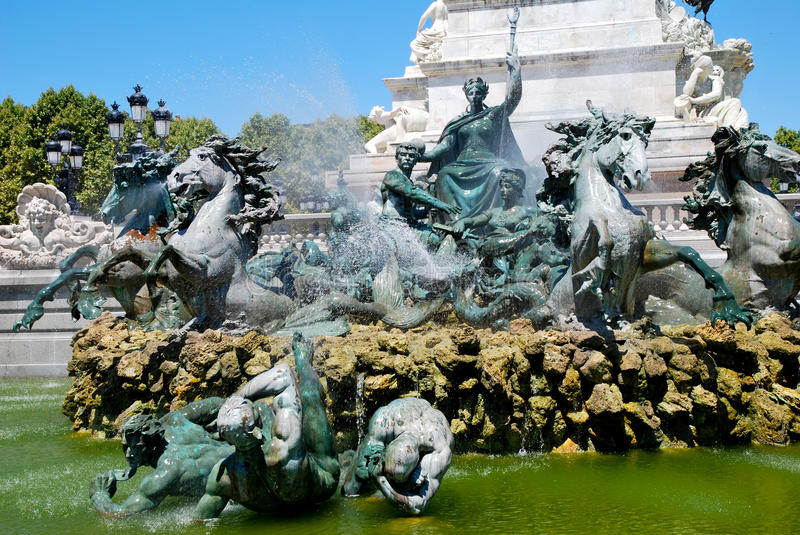 The fountain of Girondins in Bordeaux stock images
