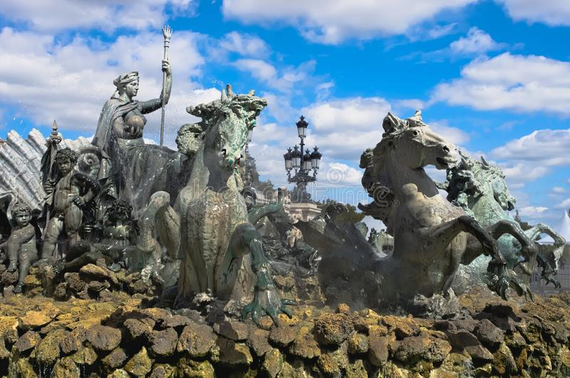 Fountain of the Girondins monument with its bronze horses, place des Quinconces, Bordeaux stock photo
