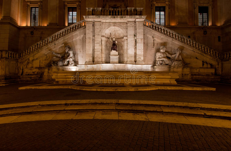 The Fountain of Goddess Roma by night. The Fountain of Goddess Roma (Dea Roma) by night, Piazza del Campidoglio, Rome, Italy stock photography