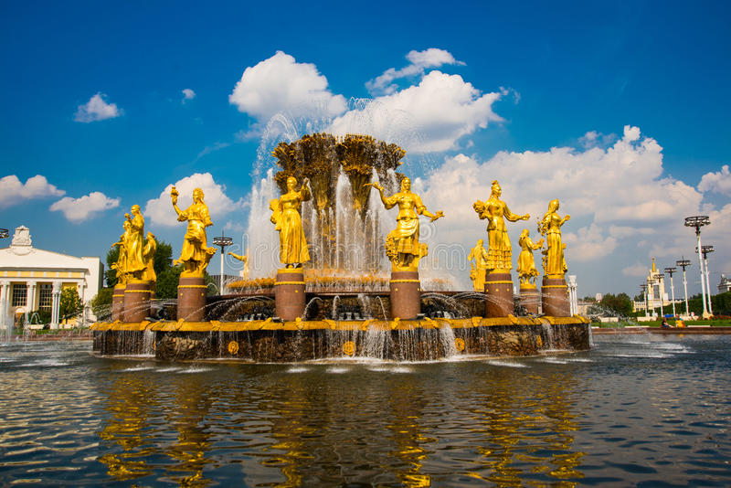 Fountain with Golden sculptures. Friendship of peoples closeup,ENEA,VDNH,VVC. , Moscow, Russia stock photography