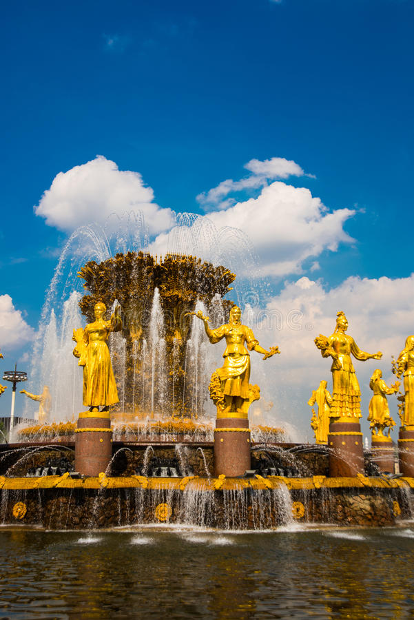Fountain with Golden sculptures. Friendship of peoples closeup,ENEA,VDNH,VVC. , Moscow, Russia stock image