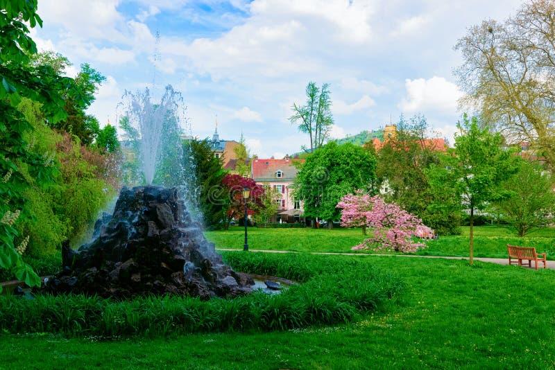 Fountain in Gonneranlage Kurpark in Baden Baden Baden Wurttemberg Germany stock image