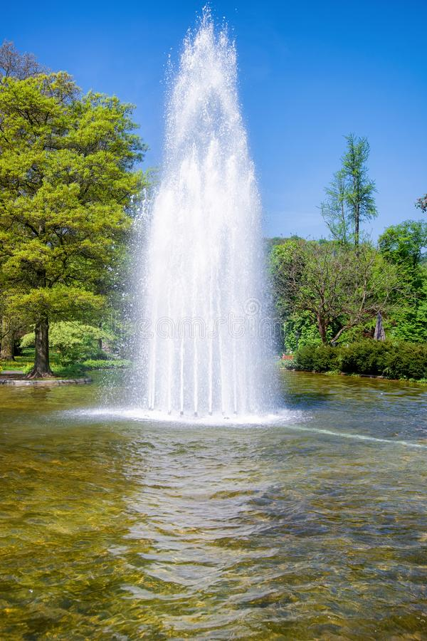 Fountain in Gonneranlage Kurpark Old city of Baden Baden Germany stock photo