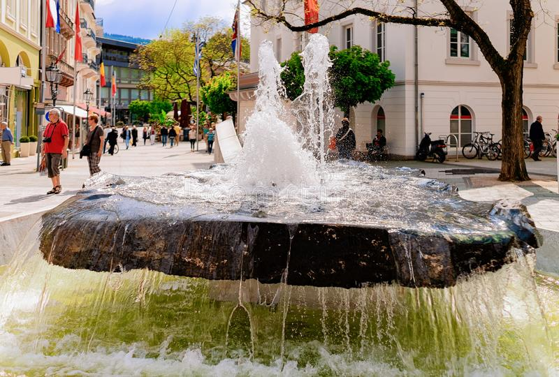 Fountain in Gonneranlage Kurpark Old city Baden Baden Germany royalty free stock image