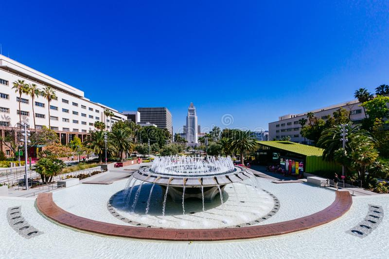 Fountain in Grand Park, and Los Angeles City Hall stock photos