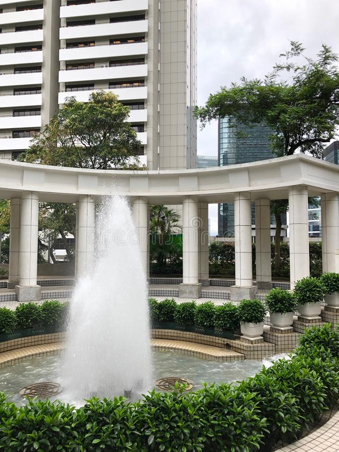 Fountain in Hong Kong Park in Central Hong Kong stock photography