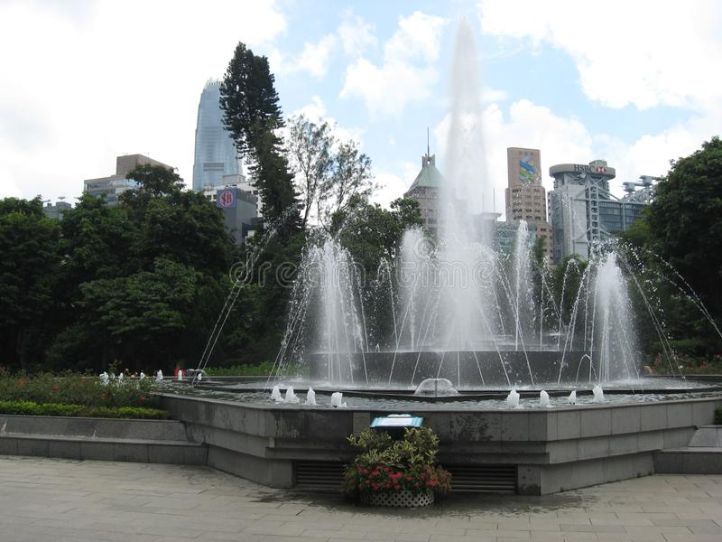 The fountain at Hong Kong zoological & botanical gardens stock images