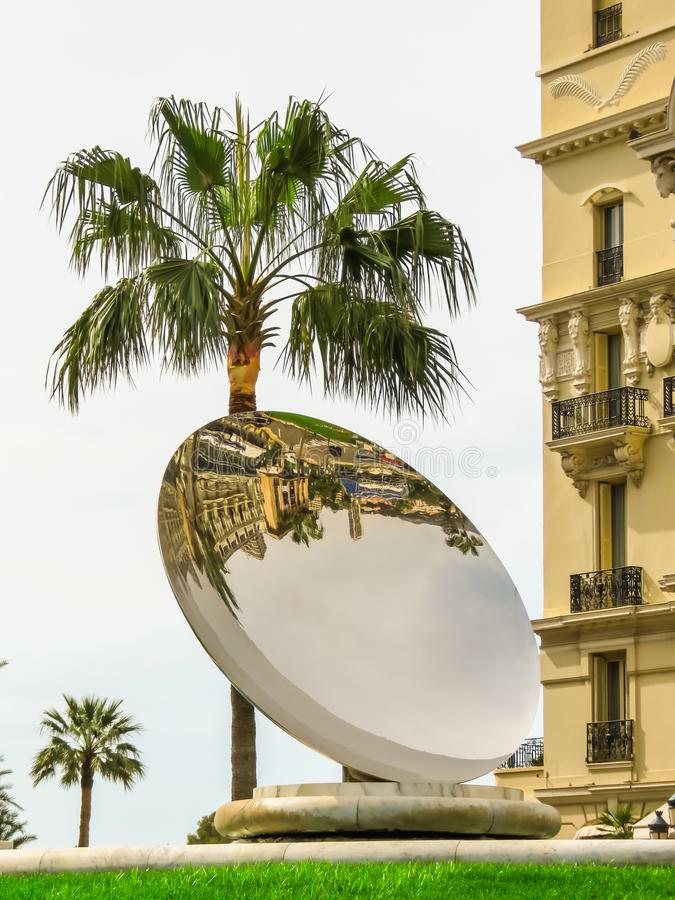 Fountain with huge mirror in the square in front of the Monte Carlo Casino stock photo