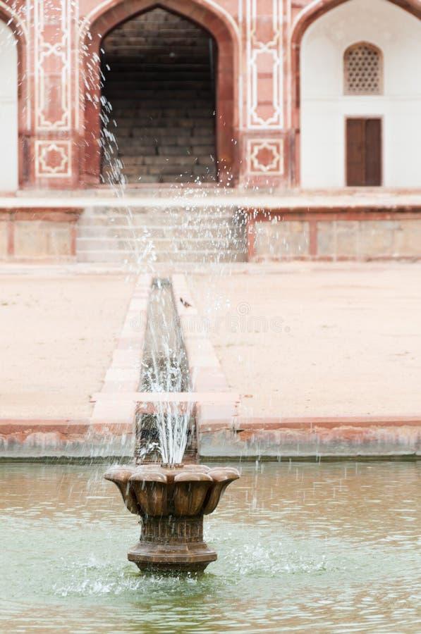 Fountain of Humayun's tomb in Delhi, India stock photo