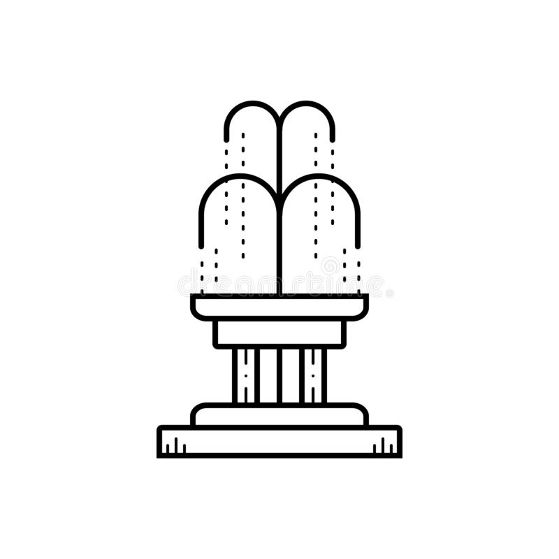 Black line icon for Fountain, park and waterfall royalty free illustration