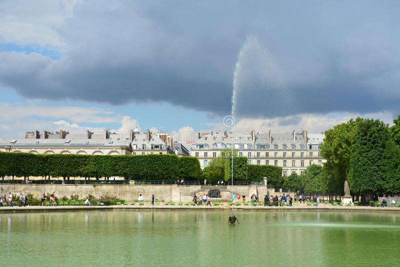 Fountain in the Jardin des Tuileries Tuileries garden, 1564.Jardin des Tuileries is public garden located between Louvre Museum stock images