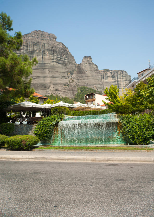 Fountain in Kalambaka at the Meteora, Greece royalty free stock image