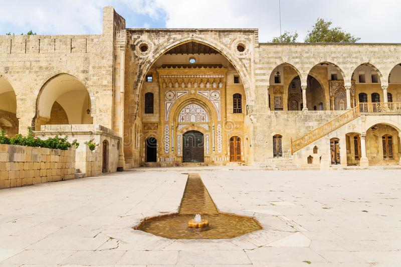Fountain leading to entrance of Emir Bachir Chahabi Palace Beit ed-Dine in mount Lebanon Middle east, Lebanon. Fountain leading to entrance of Emir Bachir stock image