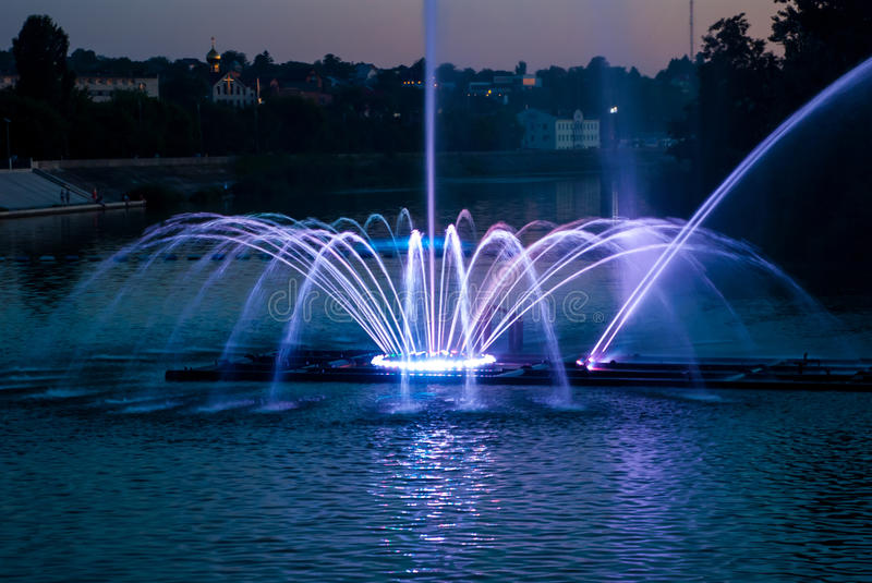 Fountain lights. In Vinnitsa,Ukraine royalty free stock images