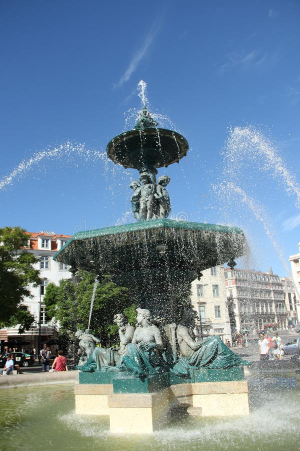 Fountain in lisbon royalty free stock photography