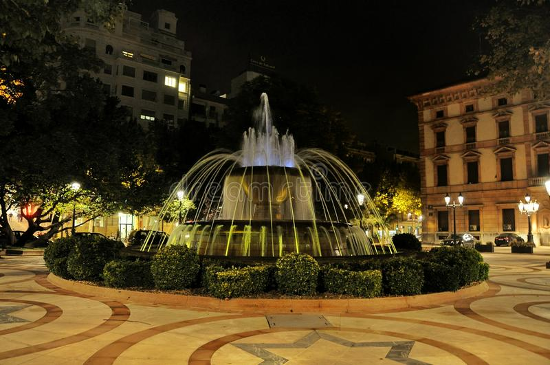 Fountain of Lleida, Spain. Night view of the fountain with illumination of Lleida city. Seu Vella. Spain royalty free stock photography
