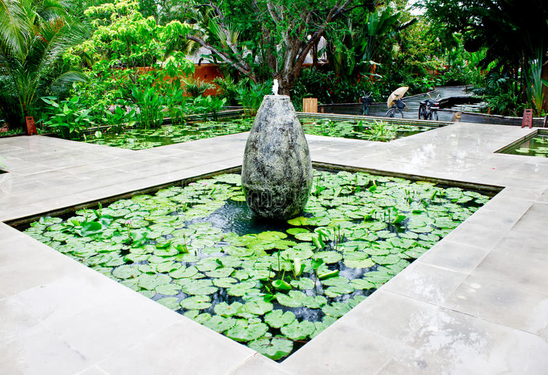 Download Fountain in lotus pond 3 stock photo. Image of botany - 26628142