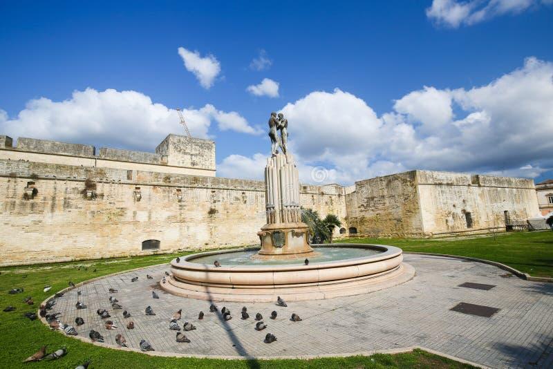 Fountain of the Lovers or Fontana degli Innamorati in Lecce, Pug stock images