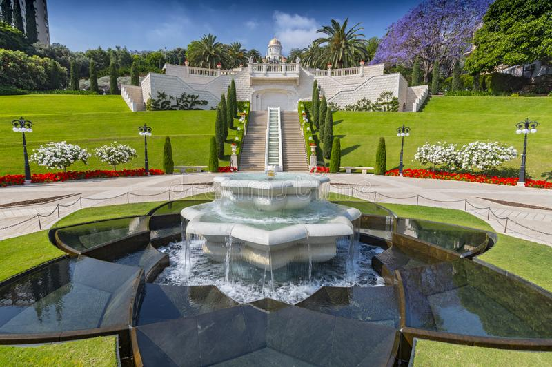 Fountain on the lower tier in Bahai Gardens Haifa, Israel.  royalty free stock image