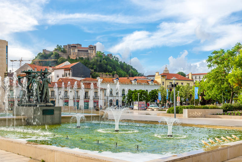 Fountain Luminosa in the streets of Leiria - Portugal. LEIRIA,PORTUGAL - MAY 11,2017 - Fountain Luminosa in the streets of Leiria . Leiria is located in the stock images