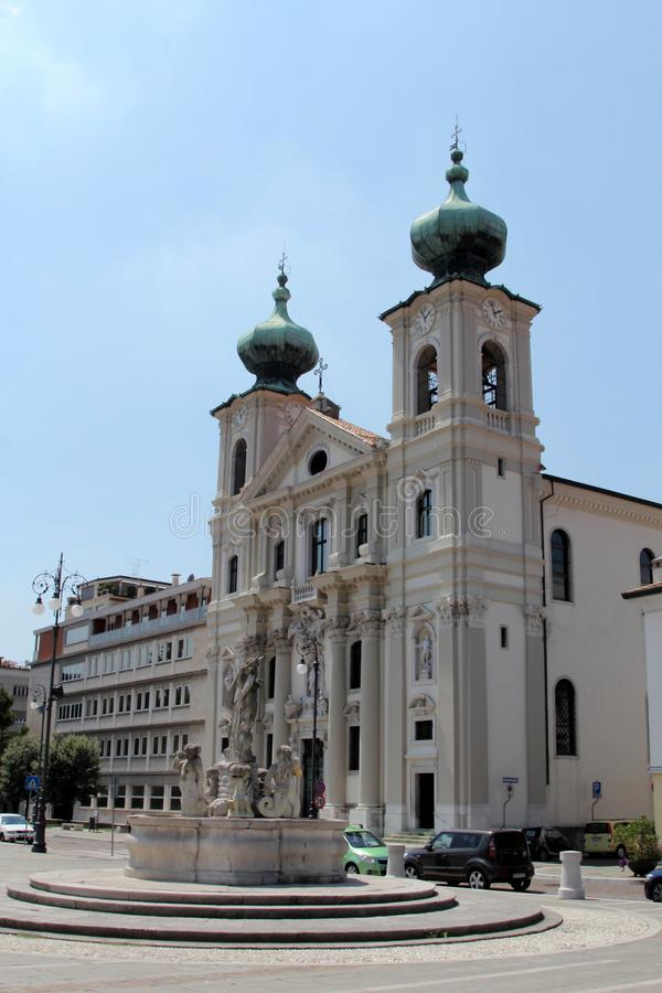 Gorizia, Italy. Fountain on the main square of Gorizia, Italy stock images