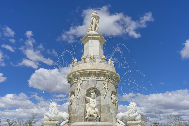 Fountain of the Mariblanca in Aranjuez close to the palace, Madrid (Spain) royalty free stock photo