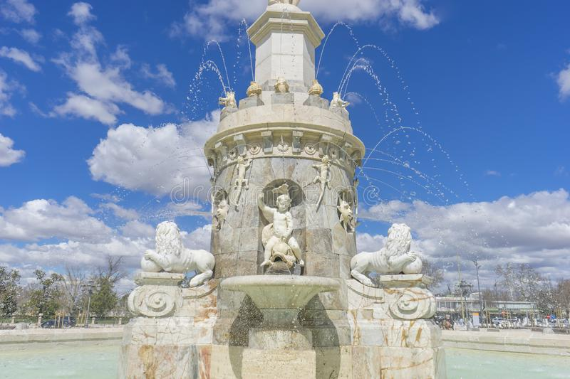 Fountain of the Mariblanca in Aranjuez close to the palace, Madrid (Spain) stock photo