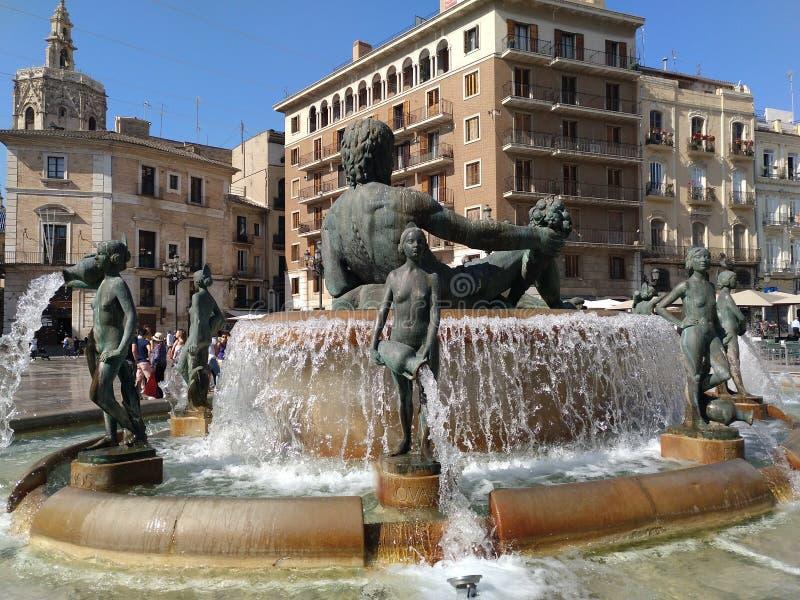 Valencia city fountain royalty free stock image