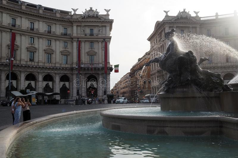 Fountain of the Naiads in Piazza della Repubblica in Rome, Italy. View of a Fountain of the Naiads in Piazza della Repubblica in Rome, Italy. The semi-circular stock images