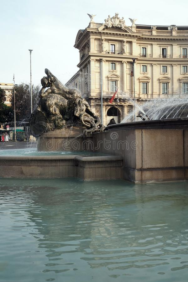 Fountain of the Naiads in Piazza della Repubblica in Rome, Italy. View of a Fountain of the Naiads in Piazza della Repubblica in Rome, Italy. The semi-circular stock photos