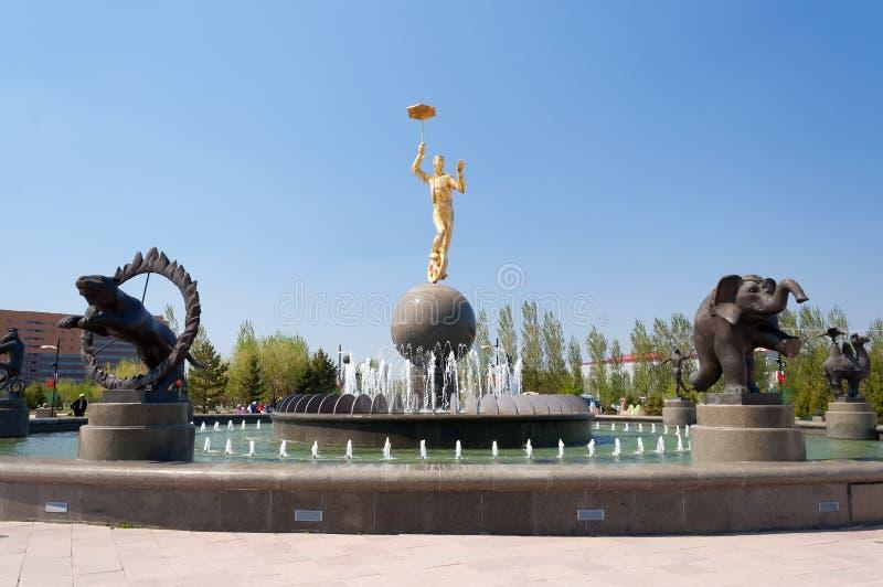 Fountain near the circus in Astana stock photo