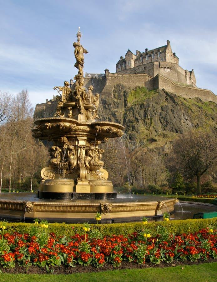 Fountain near Edinburgh Castle royalty free stock image