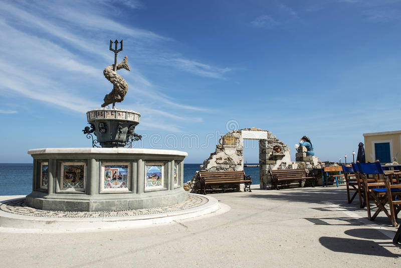 Fountain of Neptune in Diafáni royalty free stock photo