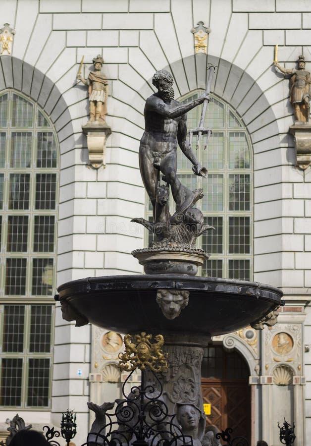 Fountain of Neptune on the Dlugi Targ Street in Gdansk, Poland stock images