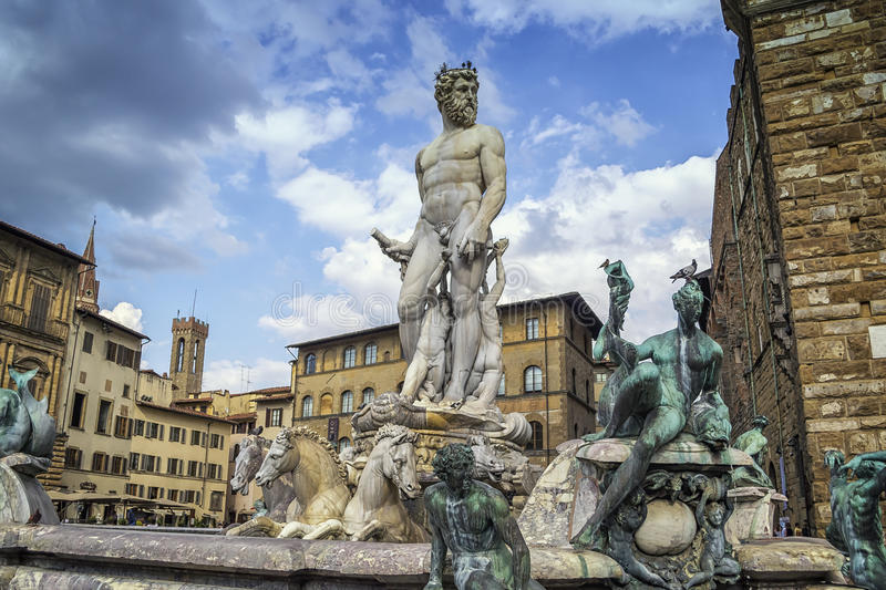 Fountain of Neptune in Florence stock photo