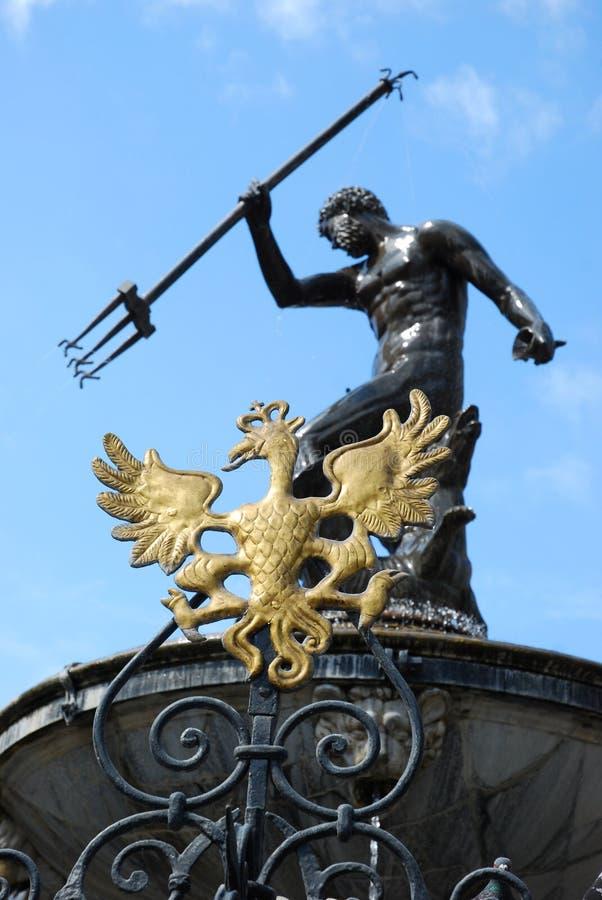 Fountain Of The Neptune In Gdansk ( Poland ) Stock Photos