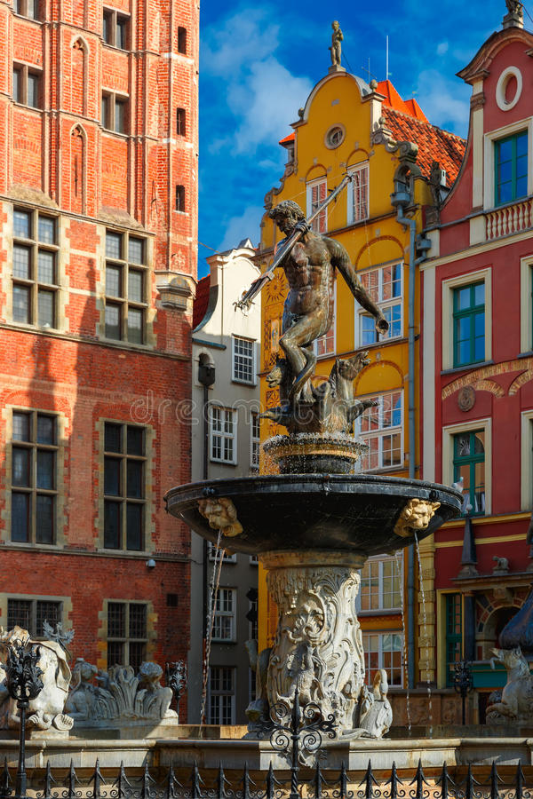 Fountain of Neptune on Long Market Street, Gdansk royalty free stock photography