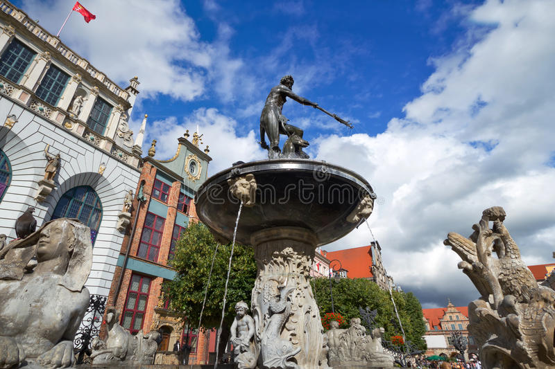 Download Fountain Of The Neptune In Old Town Of Gdansk Stock Photo - Image: 25966740