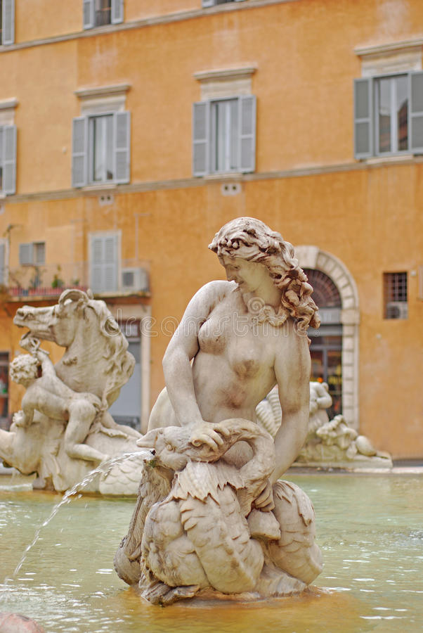 Fountain of Neptune with Statues and Sculpture in Piazza Navona royalty free stock photo