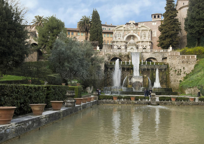 The Fountain of Neptune in the Villa d`Este royalty free stock photo