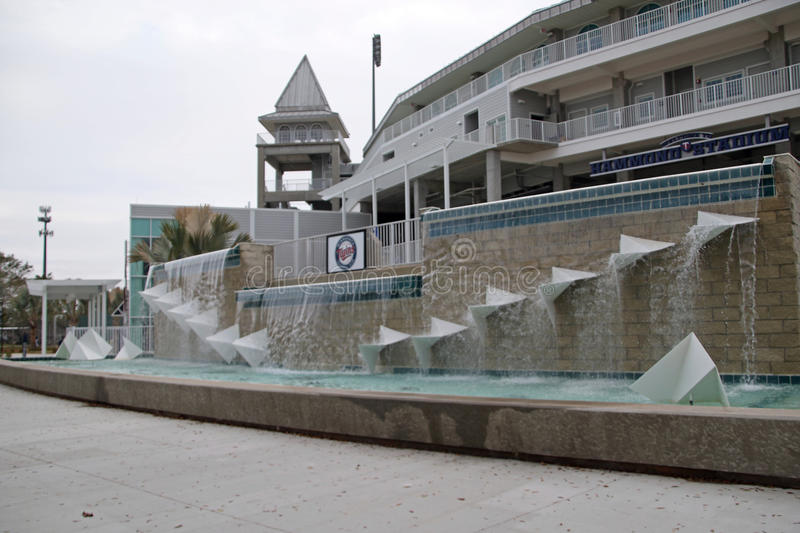 The Fountain at the New Entrance to Hammond Stadium. Hammond Stadium is a baseball field in the CenturyLink Sports Complex in South Fort Myers, Florida, United stock images
