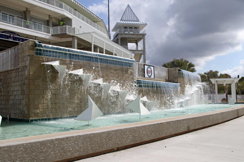 The Fountain at the New Entrance to Hammond Stadium. Hammond Stadium is a baseball field in the CenturyLink Sports Complex in South Fort Myers, Florida, United royalty free stock photography