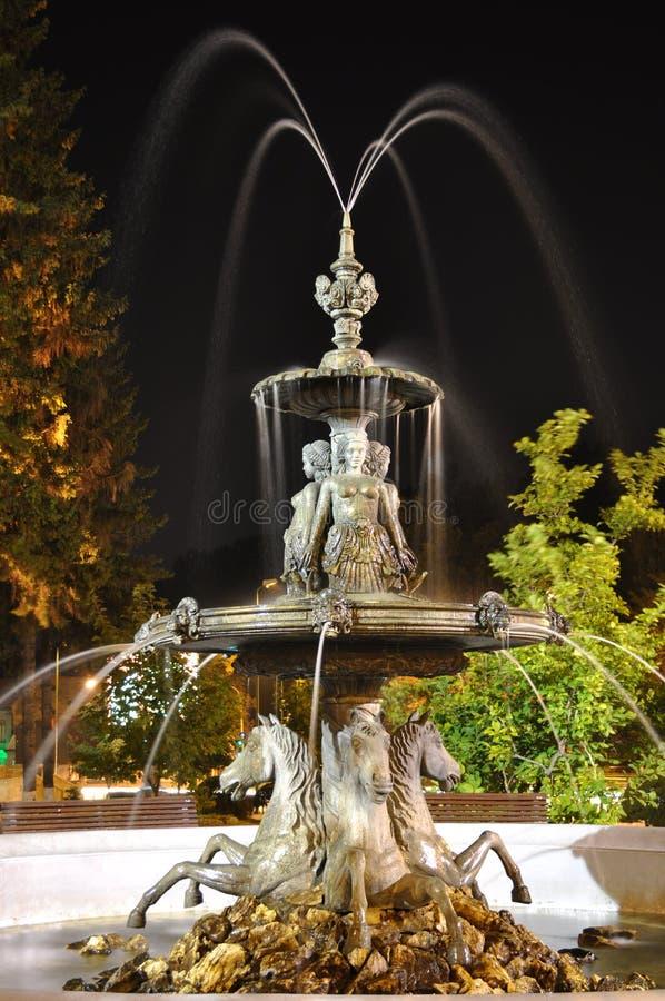 Fountain at night. Brasov fountain at night, Romania stock photos