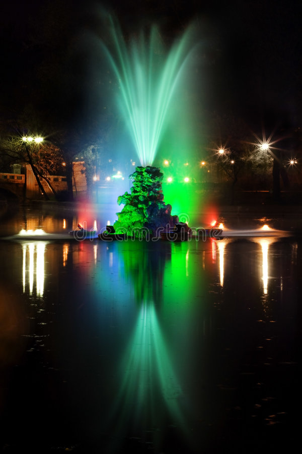 Fountain at night royalty free stock image