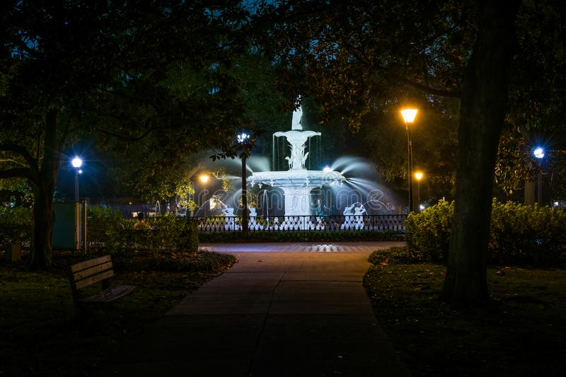 Fountain at night, at Forsyth Park, in Savannah, Georgia royalty free stock images