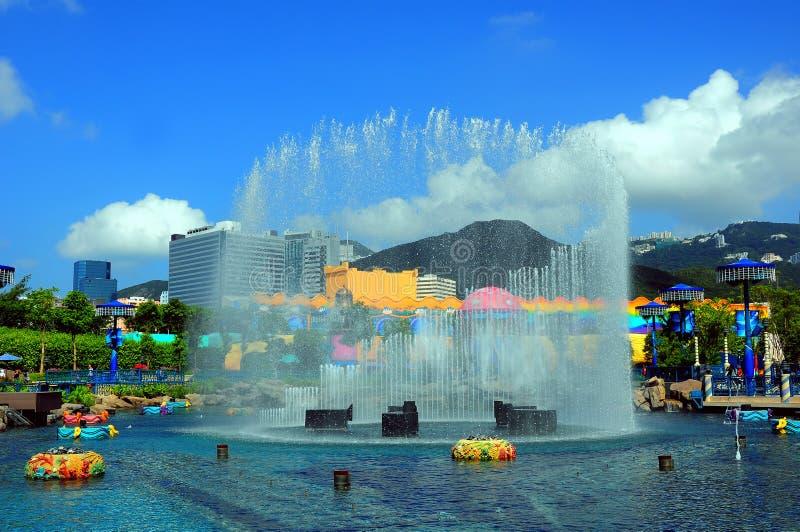 Fountain at ocean park hong kong royalty free stock photo