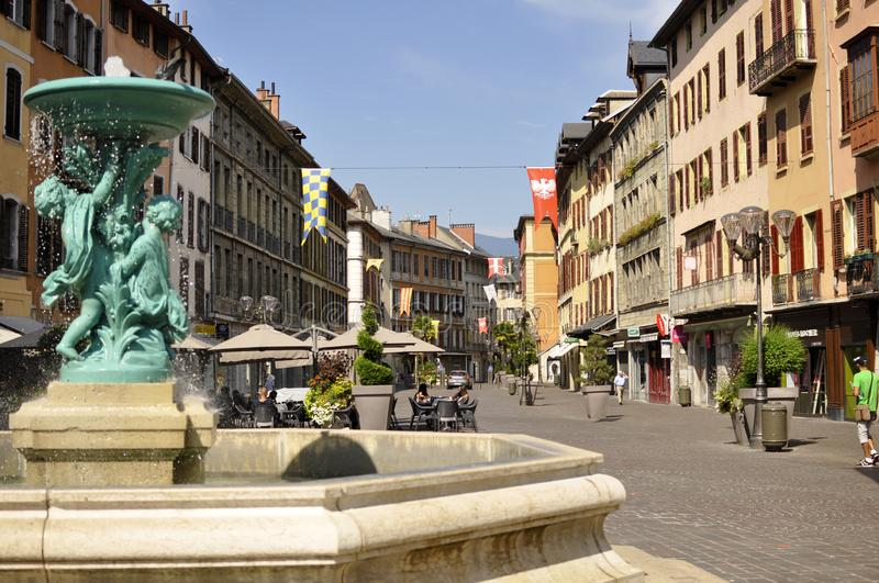 Fountain into the old city of chambery stock photo