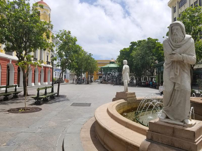 Fountain in old san juan, plaza. Puerto Rico. Summer day royalty free stock photography