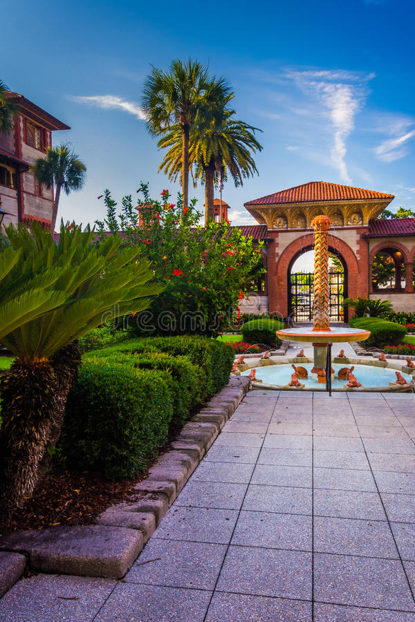 Fountain and palm trees at Flagler College, St. Augustine, Florida. royalty free stock image